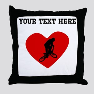 BMX Biker Heart (Custom) Throw Pillow